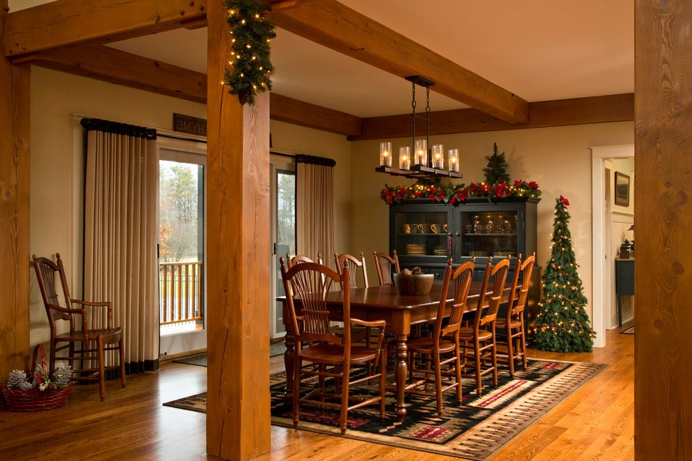 12 Ft Pre Lit Christmas Tree with Traditional Dining Room  and 5 Wide Rustic Red Oak Floors Area Rug Bi Parting French Doors Holiday Hutch Oak Post and Beam Window Treatment Wood Floor