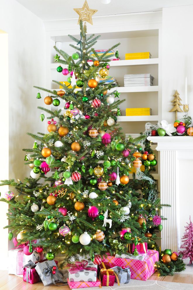 12 Ft Pre Lit Christmas Tree with Transitional Spaces Also Christmas Ornaments Christmas Tree Greige Walls Holiday Mantle Orange and Yellow Colour Scheme Orange Pillows Striped Drapery White Sofa