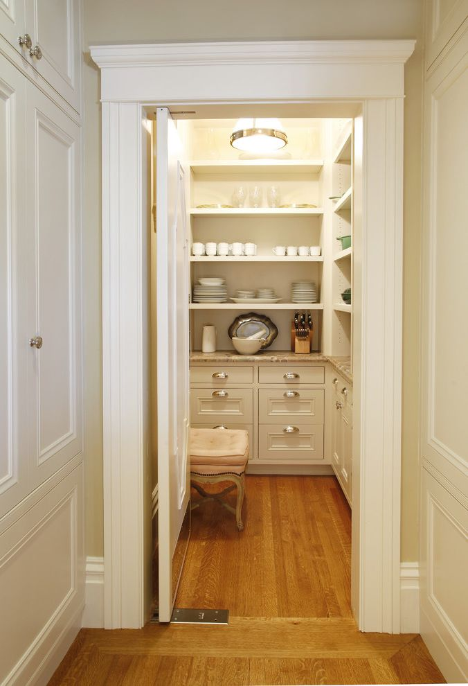 12 Inch Deep Pantry Cabinet with Traditional Kitchen  and Bench China Storage Food Storage Hardwood Floor Organizing Pantry Pendant Light Storage Traditional Vintage Modern White Cabinets