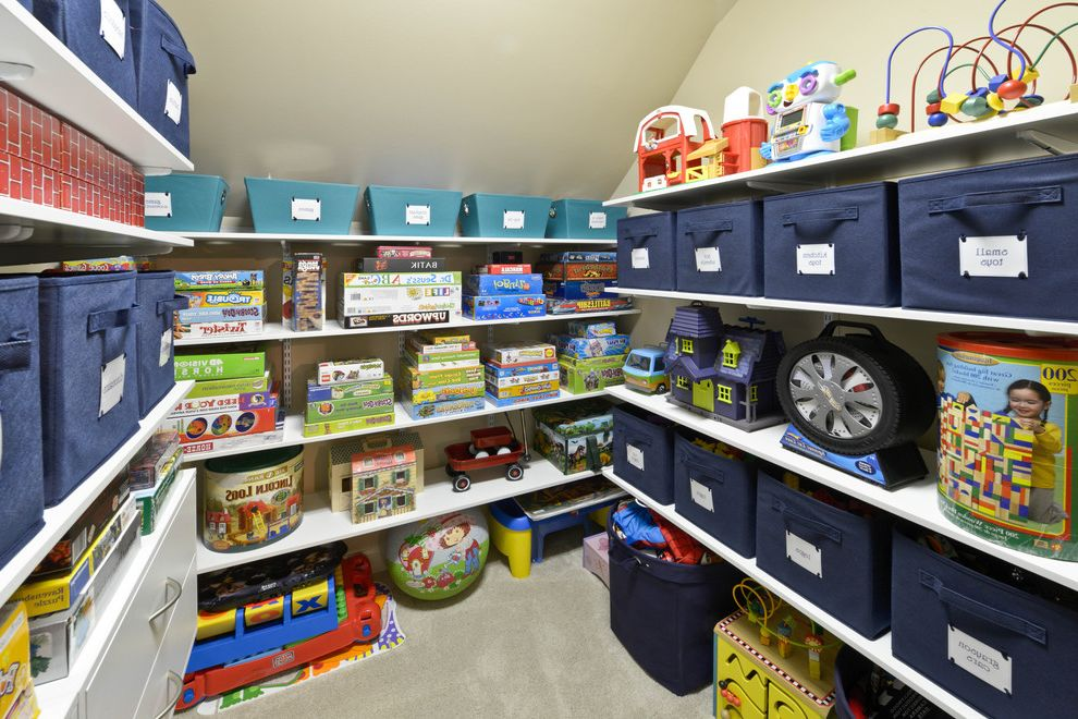 13 Storage Bins   Contemporary Closet  and Blue Storage Bins Carpeting Fabric Bins Toy Closet Toy Shelves Toy Storage