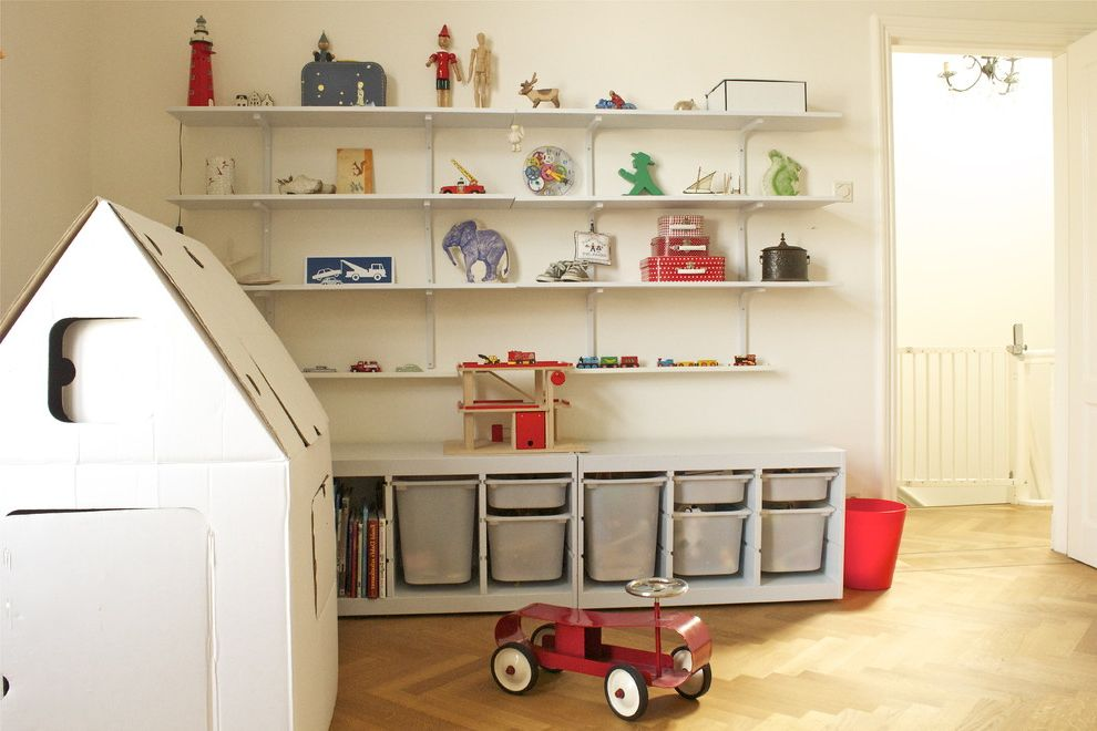 13 Storage Bins   Traditional Kids  and Play House Playroom Shelves Storage Toy Toy Car Toy Storage Wood Floor