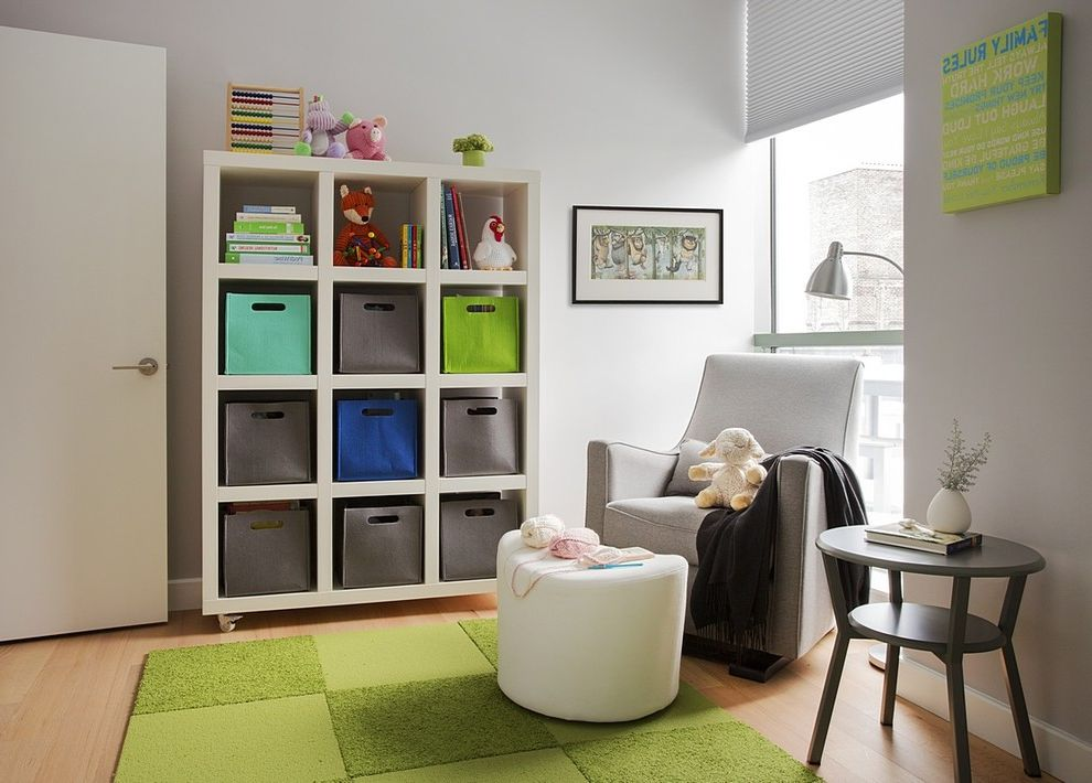 13 Storage Bins with Contemporary Nursery Also Bookcase Bright Colors Colorful Accents Condominium Glider Green Architect Modern Condo Renovation Side Table Storage Baskets Toys Urban Style