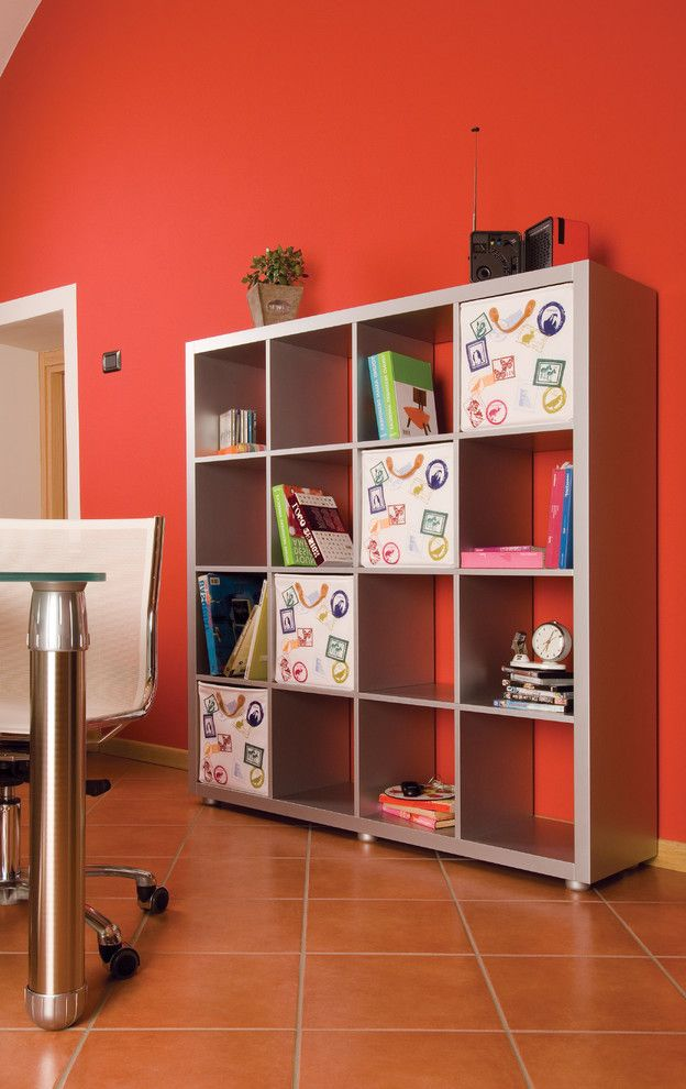 13 Storage Bins with Eclectic Home Office  and Accent Wall Bold Colors Bookcase Bookshelves Bright Colors Storage Baskets Storage Cubbies Tile Flooring
