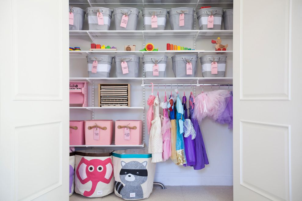 13 Storage Bins with Transitional Closet  and Ballet Tutus Disney Princess Dresses Elephant Storage Bin Gray and White Bins Kids Closet Storage Kids Storage Ideas Little Girls Closet Pink Bins Pottery Barn Kids Storage Raccoon Toy Storage Ideas