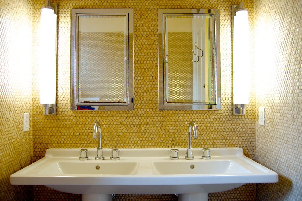 14 X 18 Recessed Medicine Cabinet   Transitional Bathroom  and Calm Double Bathroom Sink Double Medicine Cabinet Double Pedestal Sink Modern Pedestal Sink Penny Tile Penny Tile Wall Rustic Vertical Wall Sconce Yellow Tile Wall