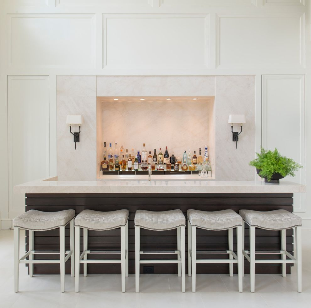 24 Inch Saddle Bar Stools   Traditional Home Bar Also Bar Chic Dark Wood Island Entertain Entertaining Space Gray Upholstered Studded Bar Stools Larsen Wall Sconce White Wall Moldings