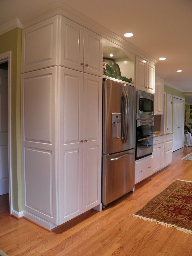 30 Inch Refrigerator with Water Dispenser with Contemporary Kitchen  and Custom Full Overlay Galley Galley Kitchen Granite Granite Countertop Maple Wood Santa Cecelia Tropical White Cabinets White Kitchen Wood Cabinets