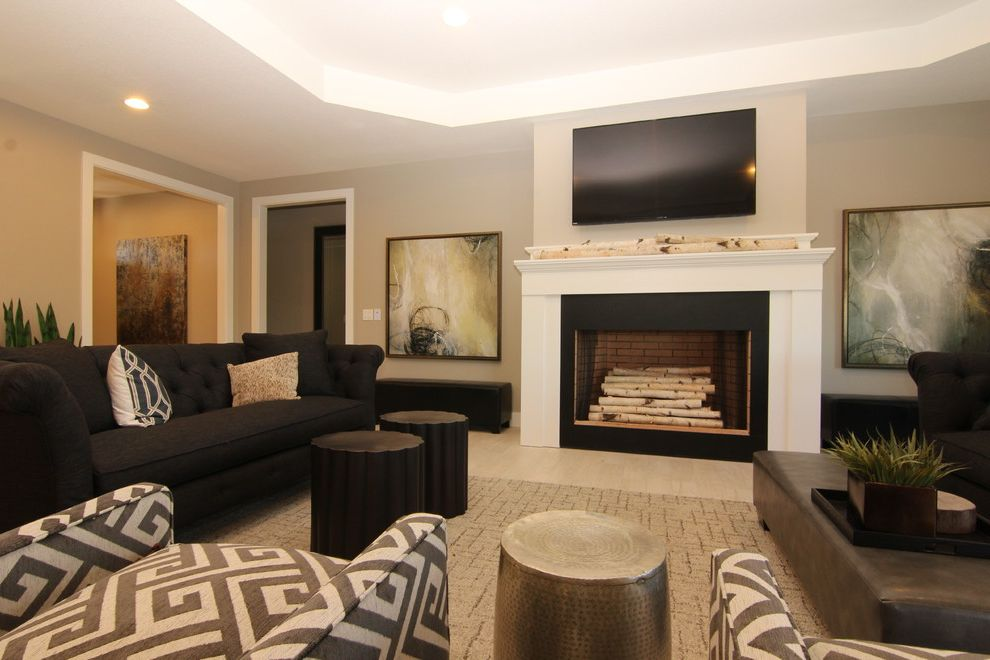 36 Gas Range with Griddle   Contemporary Living Room Also Contemporary Living Room Fireplaces Stoves