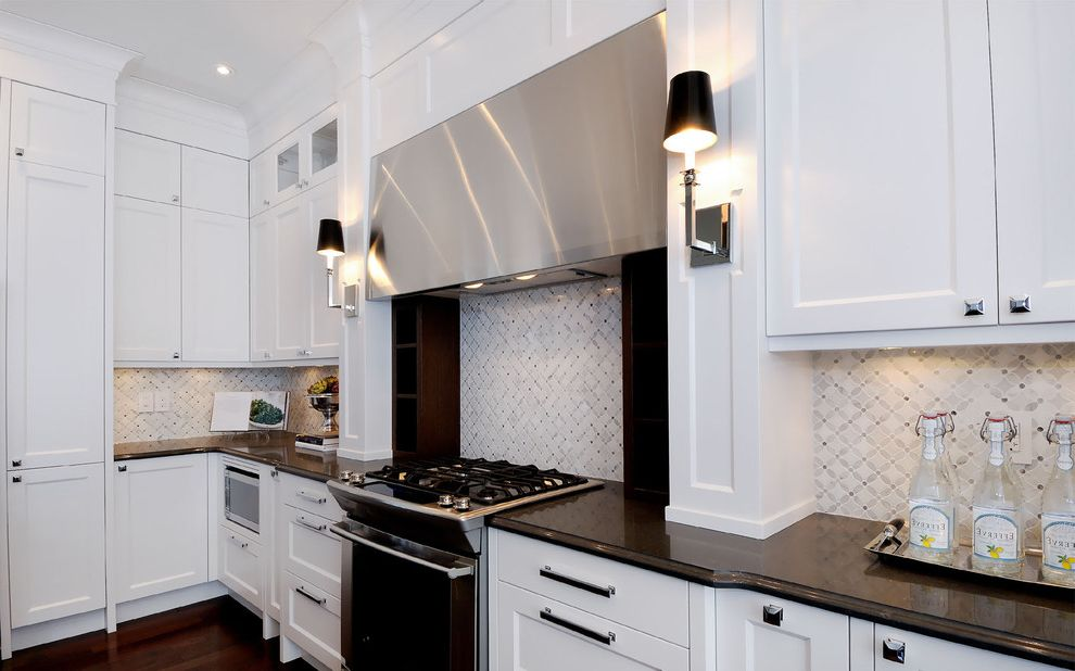 36 range hood insert transitional kitchen and backsplash for Shaker style kitchen hoods