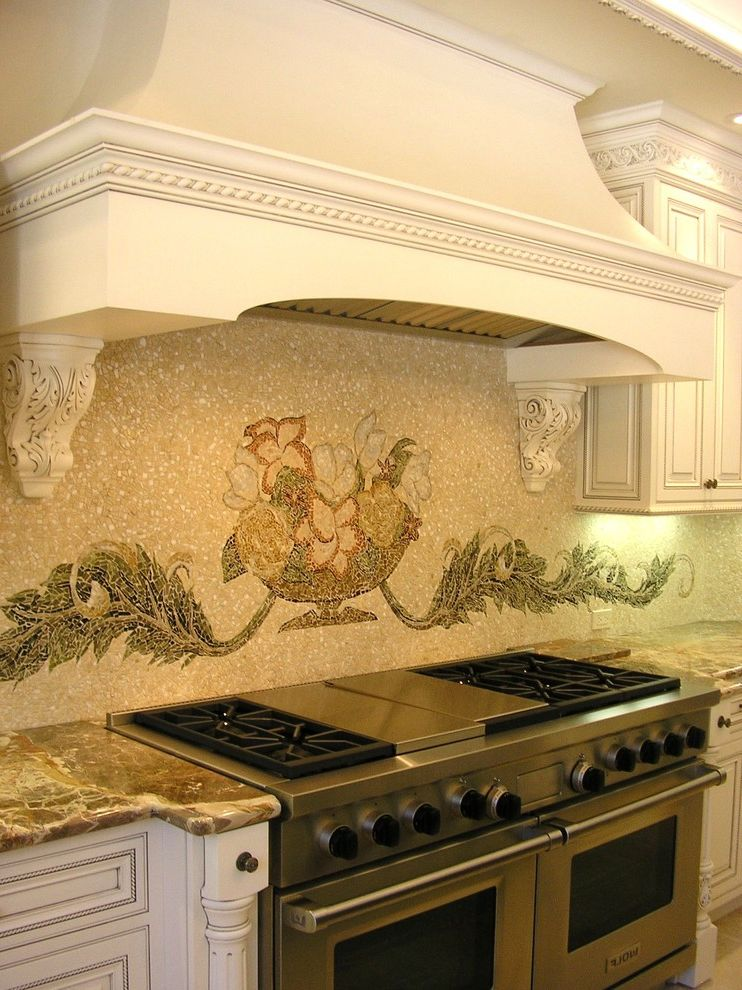 36 Range Hood Insert with Traditional Kitchen  and Carved Wood Distressed Furniture Faux Finish Mosaic Tiles Range Hood Slab Countertops Stainless Steel Appliances Stone Countertops Tile Backsplash Wall Mural White Cabinets Wood Cabinets Woodwork