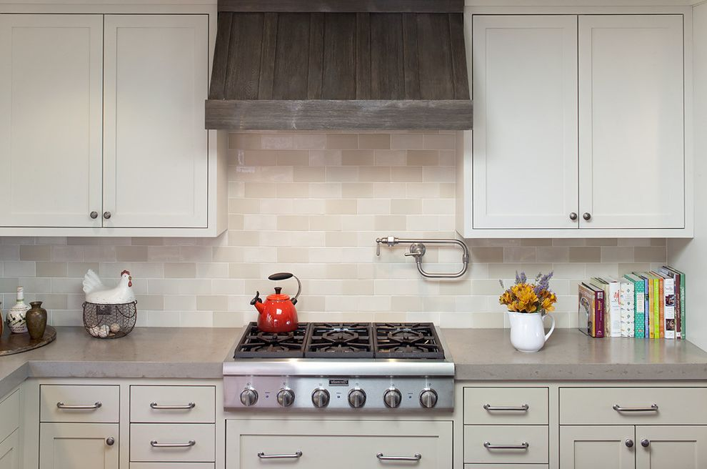 36 Range Hood Insert with Traditional Kitchen  and Cream Lower Cabinets Gray Countertops Neutral Tones Silver Hardware Tile Backsplash White Upper Cabinets Wood Range Hood