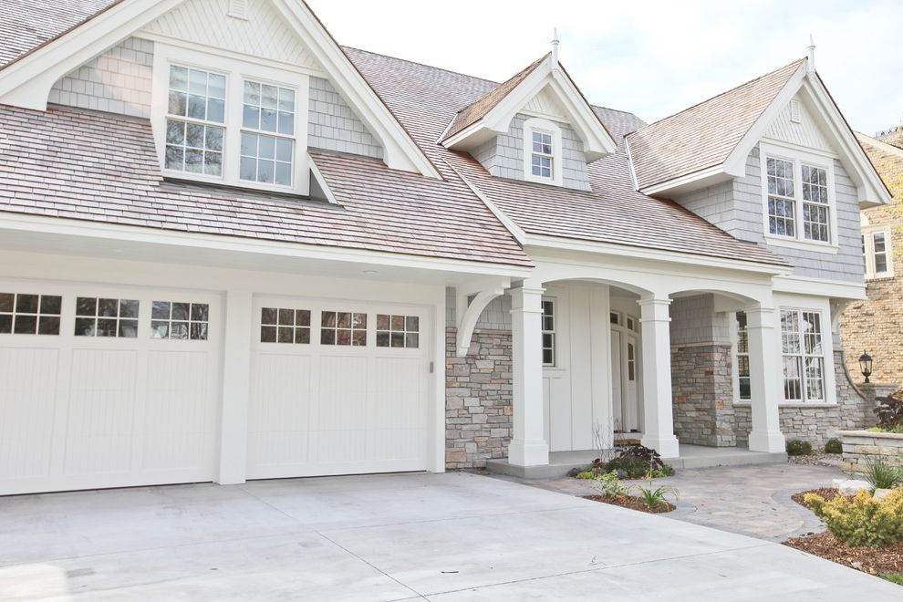 36 X 84 Exterior Door   Traditional Exterior  and Cottage Dormer Windows Driveway Entrance Entry Front Door Front Exterior Path Shake Roof Shingle Siding Stone Facade Stone Faced Traditional Walkway White Garage Doors White Trim Wood Columns Wood Pillars