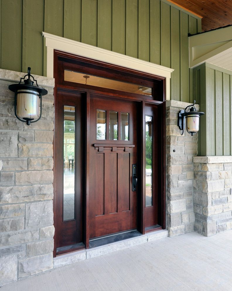 36 X 84 Exterior Door with Craftsman Entry Also Entry Front Door Front Entrance Green Exterior Outdoor Light Porch Stone Stone Exterior Wood Door