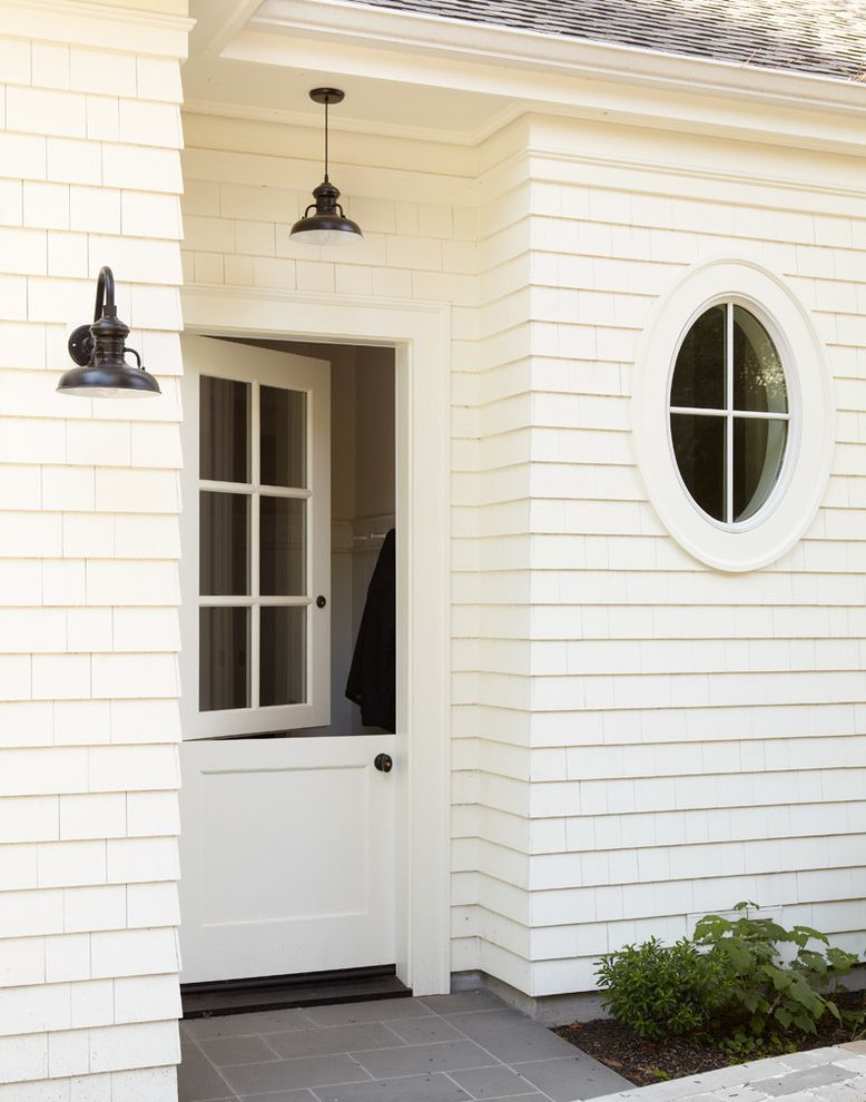 36 X 84 Exterior Door With Traditional Entry And Barn Lamp Dutch Door  Exterior Lighting Oxeye Window Shingle Siding White Siding White Trim