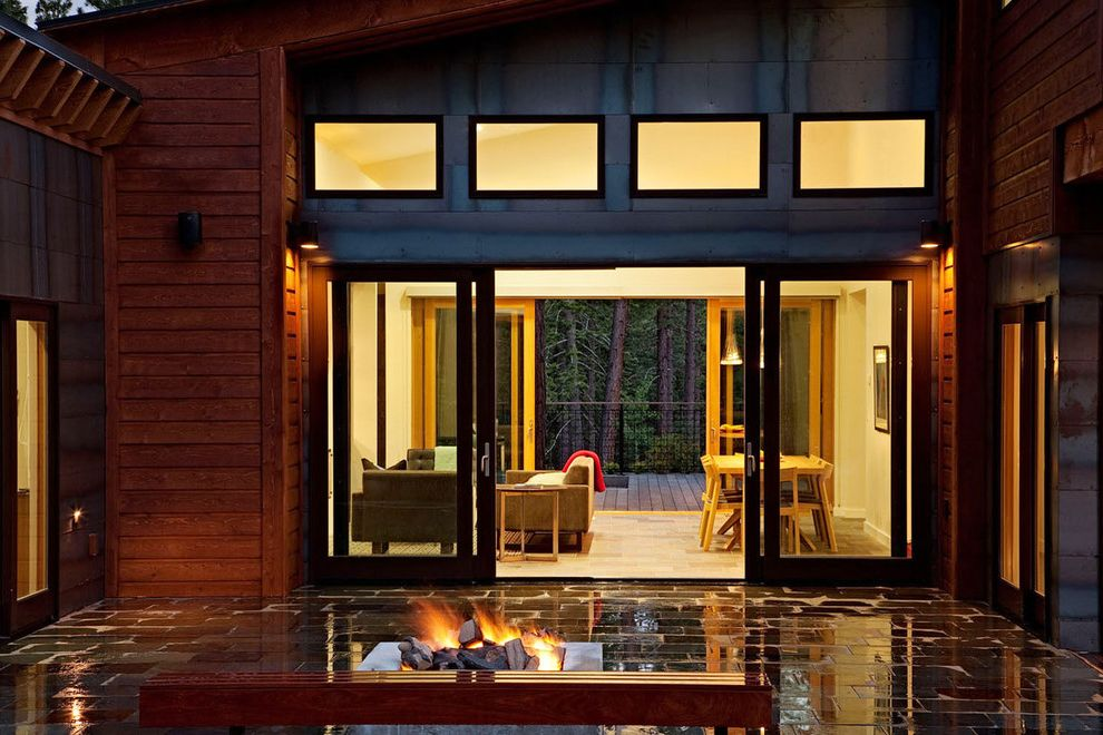 4 Panel Sliding Patio Doors With Contemporary Patio And Ceiling