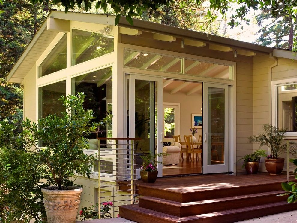 4 Panel Sliding Patio Doors Traditional Exterior Also Circle Redmont Deck Gable Roof Hillside Metal Railing Padouk Paver Pella Potted Plant Sliding Glass Doors Steps Sunroom Tongue And Groove Soffit Transom Windows