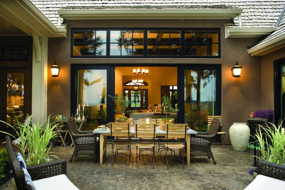 4 Panel Sliding Patio Doors   Traditional Patio Also Al Fresco Cafe Chairs French Provincial Glass Doors Lanterns Outdoor Dining Outdoor Lighting Patio Doors Patio Furniture Table Setting Wicker Furniture
