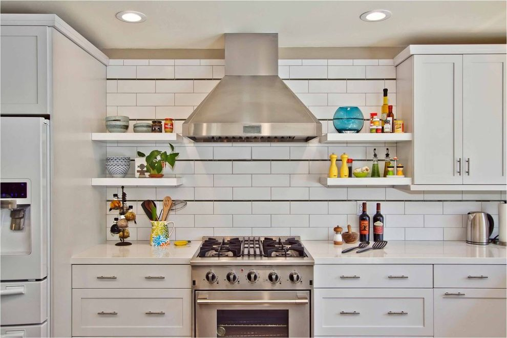 40 Inch Electric Range   Contemporary Kitchen Also Open Shelves Shaker Kitchen Subway Tile White Kitchen White Kitchen Cabinet White Shelves White Subway Tile