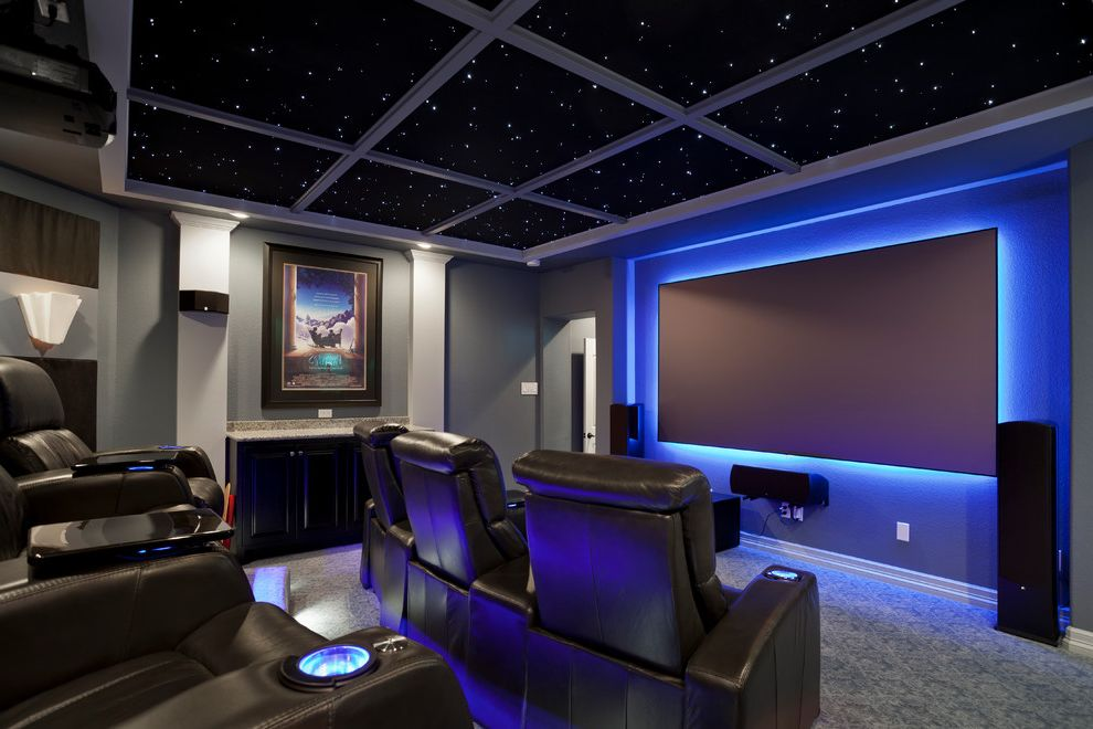 40th Street Movie Theater   Contemporary Home Theater Also Coffered Ceiling Gray Walls Leather Chairs Lounge Chairs Sconce Star Ceiling