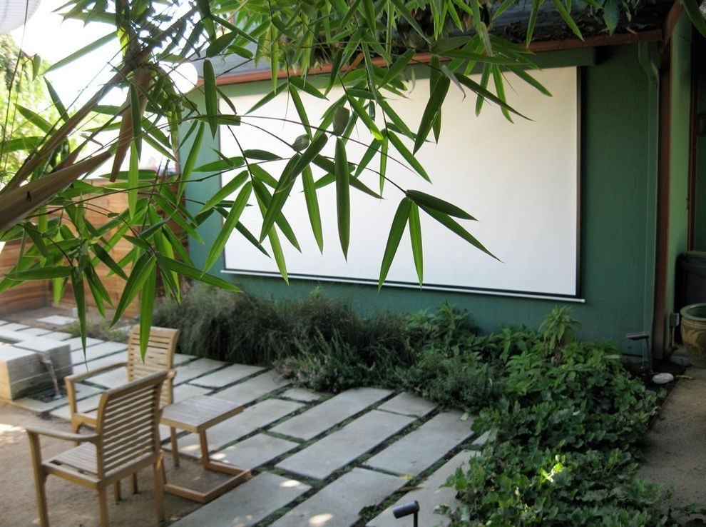 40th Street Movie Theater   Contemporary Patio  and Bamboo Concrete Pavers Edible Garden Fountain Native Plants Outdoor Furniture Outdoor Living Room Outdoor Retractable Movie Screen Mounted Water Feature