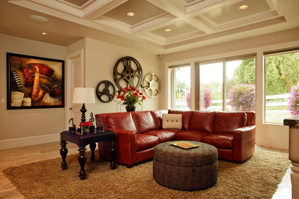 40th Street Movie Theater   Traditional Home Theater  and Brown Rug Coffered Ceiling Den Large Film Reels Large Windows Media Cabinet Red Flowers Red Leather Sectional Sofa Rio Round Ottoman Sofa Table Tv Tv Room Wood Side Table