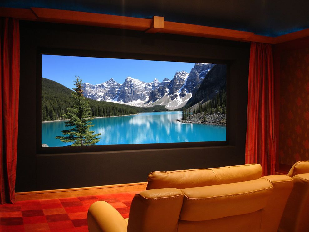 40th Street Movie Theater with Traditional Home Theater  and Curtains Drapes Home Theater Home Theatre Leather Armchair Projector Red Carpet