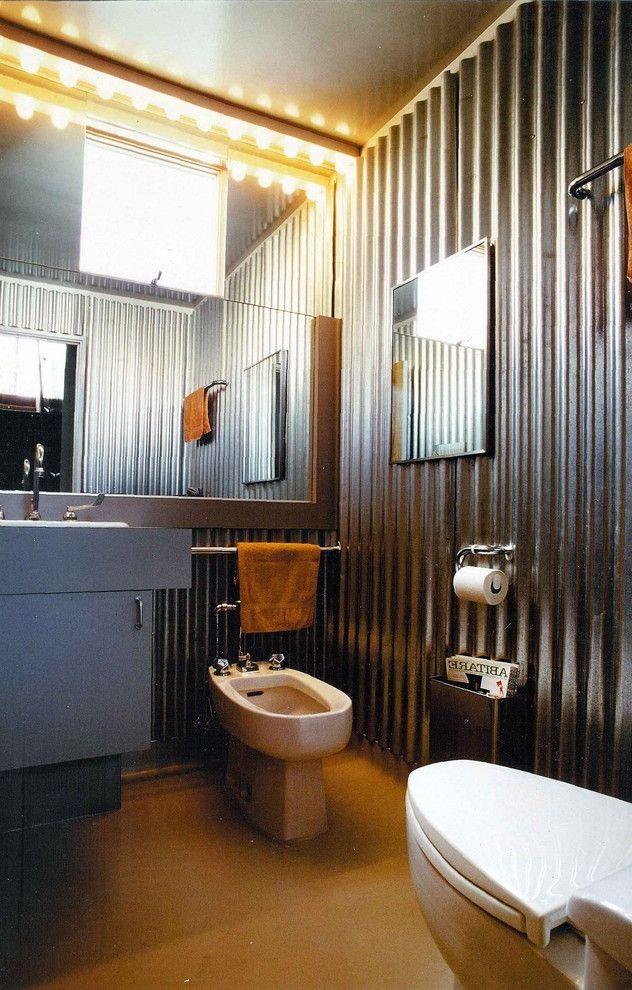 40x60 Metal Building with Living Quarters   Industrial Bathroom  and Bidet Corrugated Metal Galvanized Guest Bath Half Bath Industrial Metal Mirror Wall Powder Room Vanity Lights