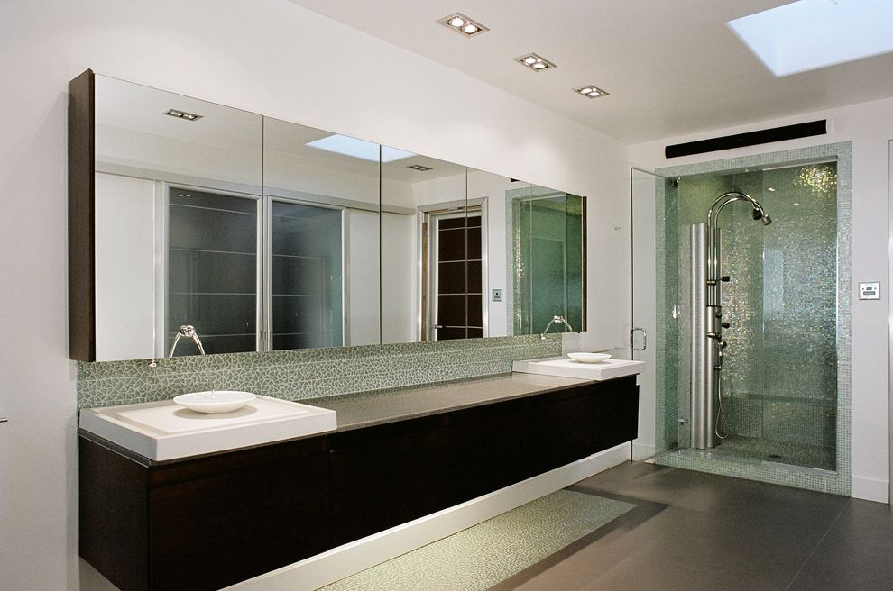 5 Day Cabinets   Contemporary Bathroom  and Above Counter Sink Broken Glass Tile Floating Vanity Glass Tile Gray Floor Tile Medicine Cabinets Modern Shower System Skylight Vessel Sink