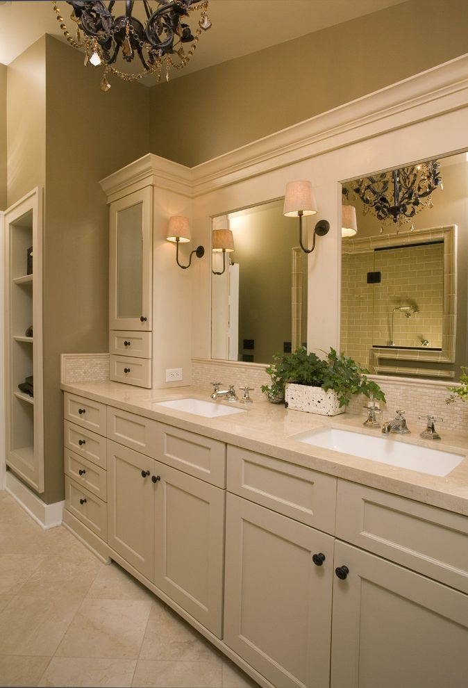 5 Day Cabinets with Traditional Bathroom  and Bathroom Mirror Bathroom Storage Double Sinks Double Vanity Neutral Colors Sconce Tile Backsplash Tile Flooring Wall Lighting White Wood Wood Trim