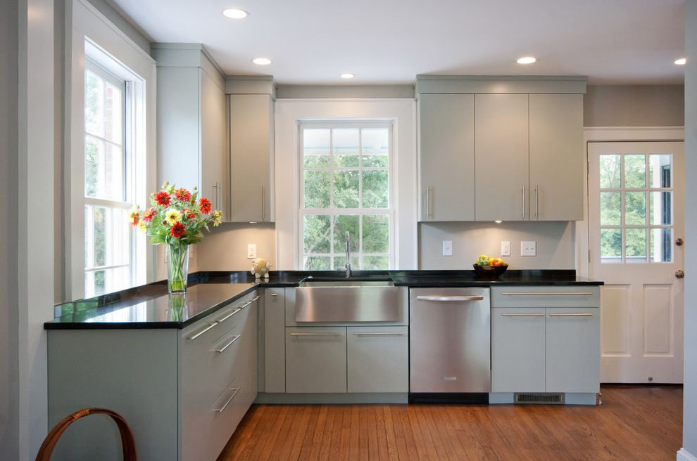 5 Day Cabinets With Traditional Kitchen Also Apron Sink Black Counters  Corner Kitchen Farm Sink Flush Cabinets Gray Stainless Steel White Painted  Trim Wood ...