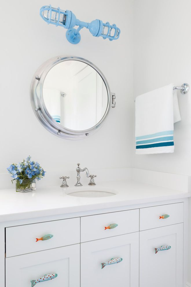 5 Inch Drawer Pulls   Beach Style Powder Room Also Blue 2 Light Sconce Blue Accents Blue Beacon Sconce Bright White Powder Room Fish Drawer Pulls Ombre Blue Striped Towel Polished Chrome Porthole Mirror Round Sink White Perimeter Countertop