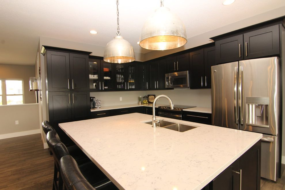 60 Inch Kitchen Sink Base Cabinet with Contemporary Kitchen  and Pendant Lights Quartz with Vein