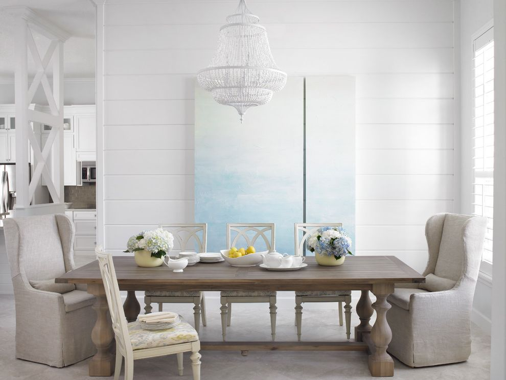 60 Inch Rectangular Dining Table with Beach Style Dining Room Also Chandelier Farmhouse Dining Table Gray Wingback Chair Tongue and Groove Wall Paneling White Dining Chair