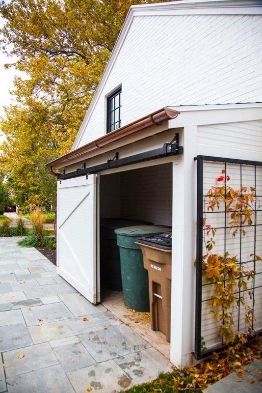 64 Gallon Trash Can   Traditional Garage  and Barn Door Copper Rain Gutter Garbage Garage Garbage Storage Salt Lake City Steel Trellis Trellis Wall Mounted Trellis White Brick