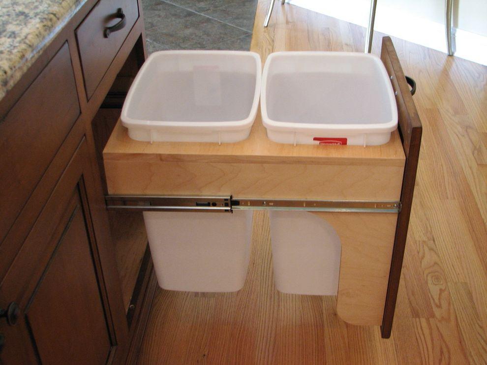 64 Gallon Trash Can   Traditional Kitchen Also Custom Builder Custom Design Kitchen Kitchen Cabinets Kitchen Trash Cans Recycled Traditional Kitchen Trash Recycling Trash Bin Trash Cans