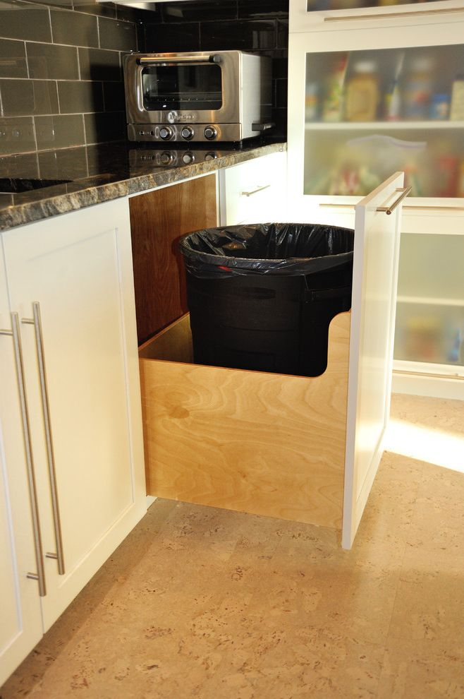 64 Gallon Trash Can with Contemporary Kitchen  and Artistic Design Cherry Wood Command Center Contemporary Cork Floor Cutouts Display Cabinet Glass Doors Granite Gray Paint Island Hood Large Trash Can Trash Pull Out White Paint