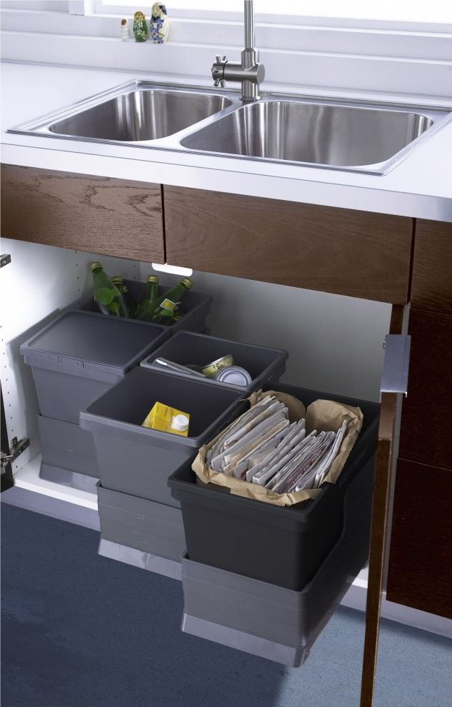 64 Gallon Trash Can with Contemporary Kitchen  and Recycling Bins