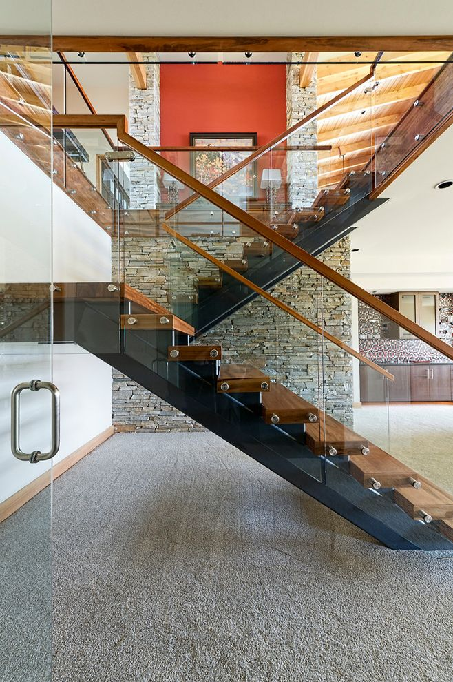 7 Stars Auto Glass   Rustic Staircase Also Basement Stair Glass Rail Glass Railing Gray Carpet Metal Offsets Modern Stair Rock Wall Seamless Glass Solid Wood Tread Stacked Stone Wall Steel Beam Steel Stringer Wood Ceiling Wood Stairs