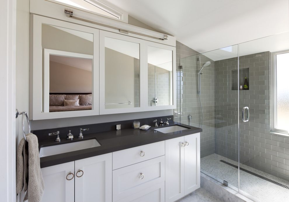 7 Stars Auto Glass with Contemporary Bathroom  and Black Countertop Chrome Glass Shower Enclosure Gray Subway Tile Marble Shower Curb Mirror Cabinet Mosaic Tile Ring Pulls Slanted Ceiling Towel Ring White Cabinets