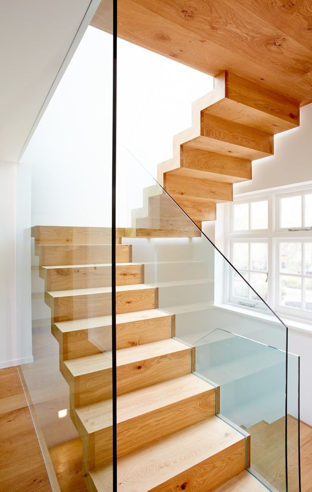 7 Stars Auto Glass with Contemporary Staircase  and Floating Staircase Glass Railing Glass Stair Rail Open Staicase Staircase Ideas Stairs Stairway Wooden Staircase Wooden Steps