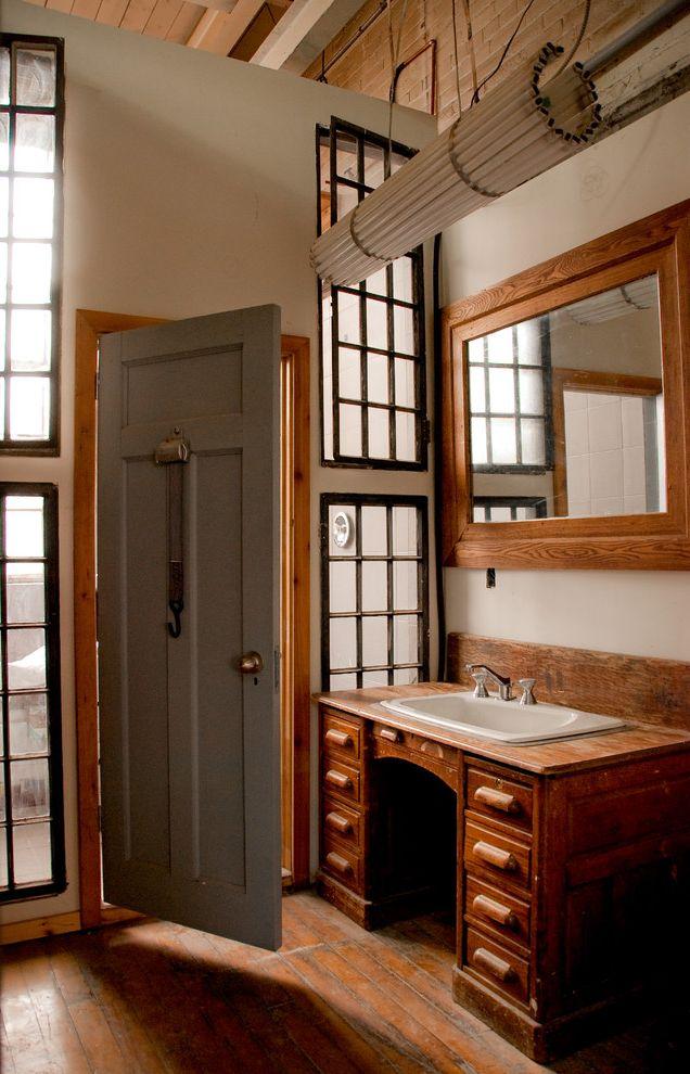 70 Inch Bathroom Vanity   Rustic Bathroom  and Framed Mirror Leaded Windows Loft Reclaimed Furniture Repurposed Furniture Rustic Vanity Wall Mirror Wood Countertop Wood Desk Wood Door Wood Flooring