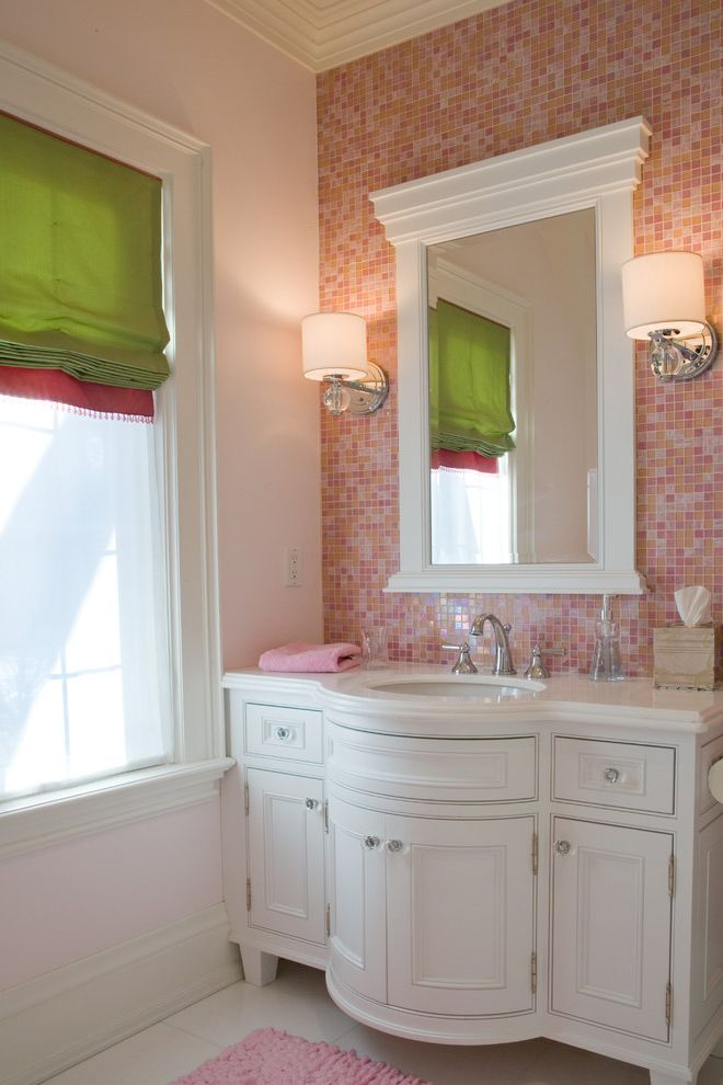70 Inch Bathroom Vanity   Traditional Bathroom Also Bathroom Sink Bow Front Vanity Crown Molding Crystal Hardware Girls Bathroom Kids Bathroom Mosaic Tile Backsplash Pink and Green Roman Shades Sconces Vanity Mirror White Vanity