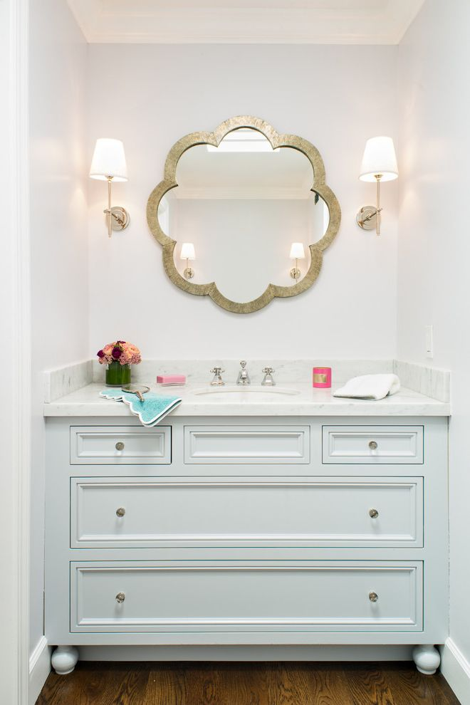 70 Inch Bathroom Vanity   Transitional Bathroom  and Curved Bathroom Mirror Gold Bathroom Mirror Gold Framed Mirror Unique Bathroom Mirror Wall Sconce White Bathroom Vanity White Cabinets White Countertop White Drawers White Wall Wood Floor