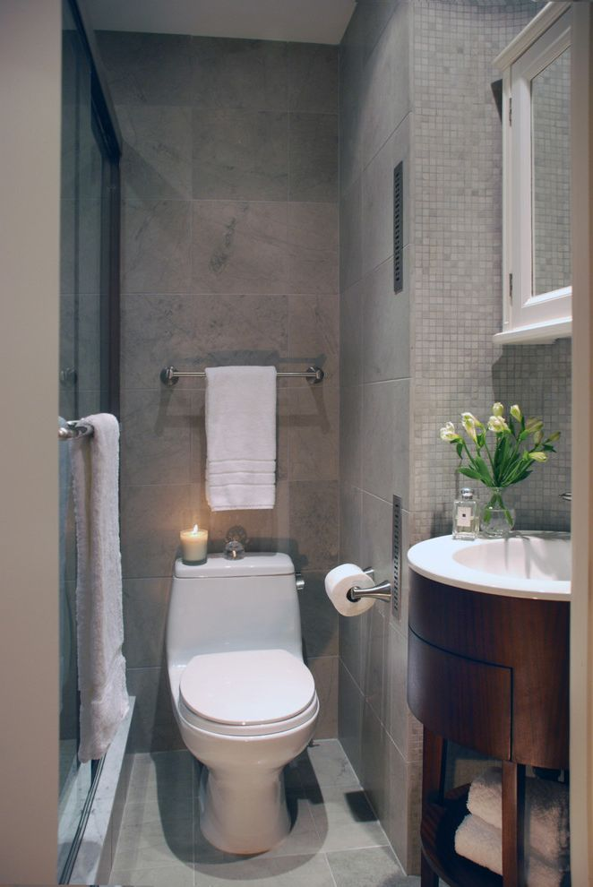70 Inch Bathroom Vanity with Transitional Bathroom  and Candle Console Sink Dark Stained Wood Glass Shower Door Gray Grey Tile Wall Mirror Cabinet Mosaic Tile Single Sink Tile Floor White White Towels