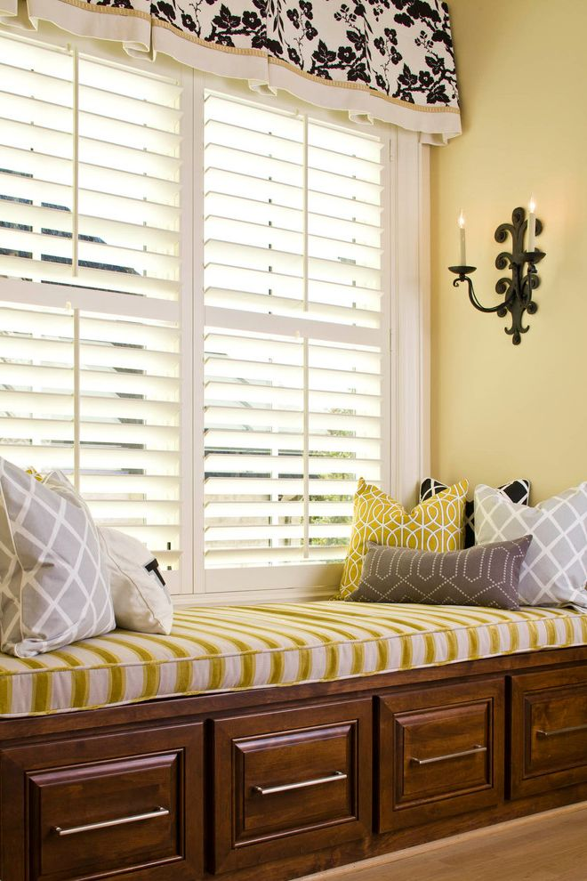70 Inch Blinds   Traditional Family Room Also Black and White Blinds Bold Patterns Dark Stained Wood Seat Cushions Shutters Valance Wall Sconces Window Seat Yellow