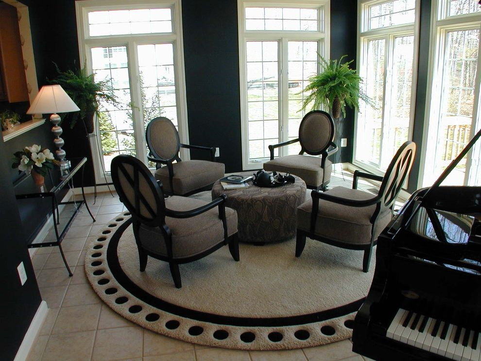 8 Ft Round Area Rugs   Traditional Living Room  and Dark Walls Dots French Doors Louis Chair Piano Round Rug Tile Floor