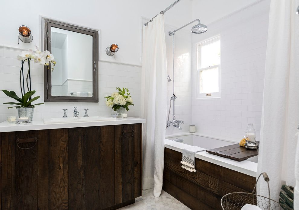 911 Restoration Reviews with Farmhouse Bathroom  and Custom Vanity Iron Drawer Pulls Linen Shower Curtains Marble Hexagon Flooring Metal Medicine Cabinet Reclaimed Wood Tub Reclaimed Wood Vanity Vintage Bathroom Sconces