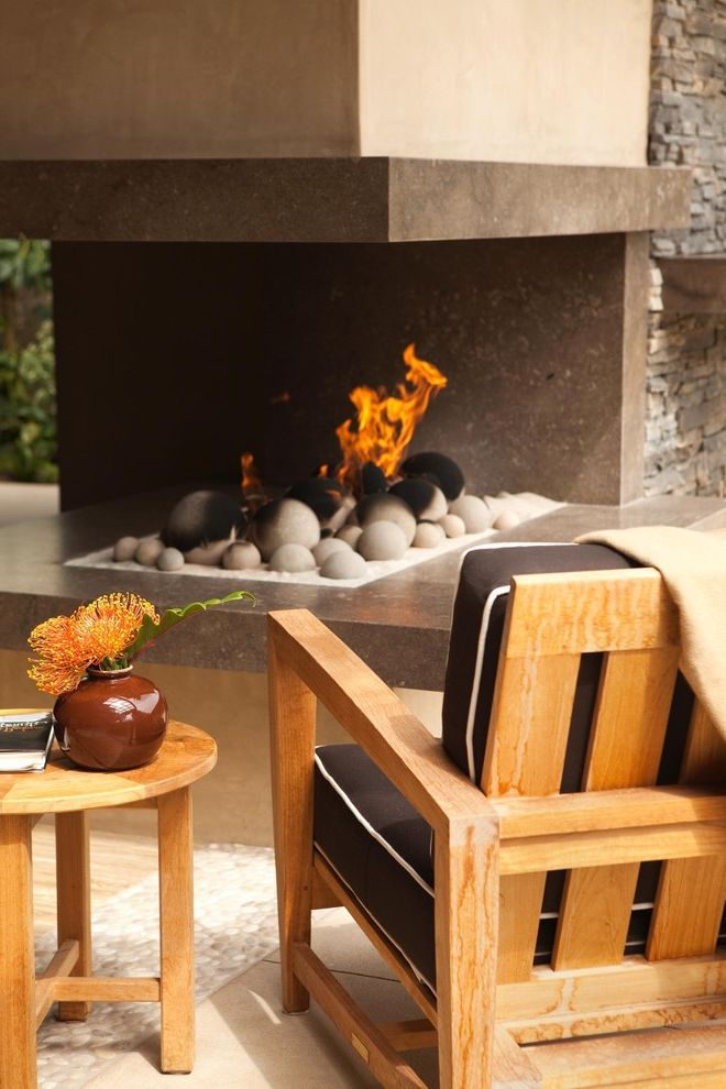 Aaa Huntington Beach   Contemporary Patio  and Fireplace Hearth Fireplace Surround Neutral Colors Outdoor Cushions Outdoor Fireplace Patio Furniture