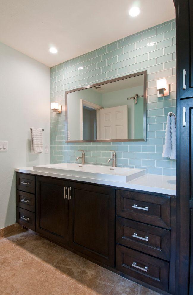 Aaa Huntington Beach   Transitional Bathroom  and Bar Pulls Light Blue Glass Tile Trough Sink