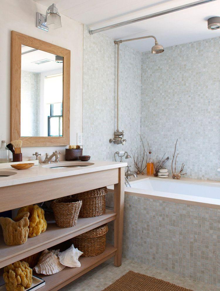 Aaa Huntington Beach with Beach Style Bathroom  and Baskets Beige Countertop Mosaic Tile Floor Shells Shower Curtain Two Sinks